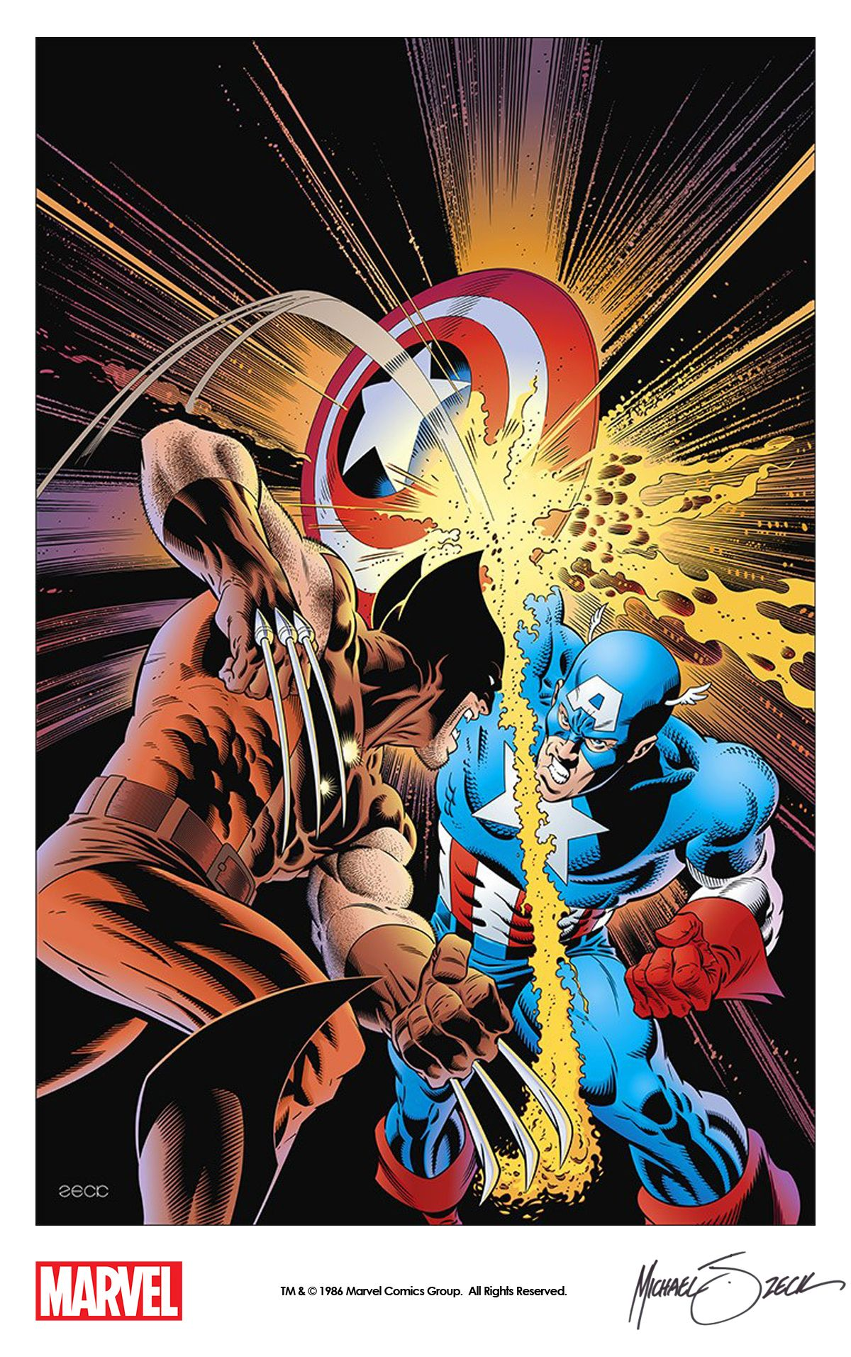 Wolverine Vs Captain America By Mike Zeck From The Iconic Cover Of Captain America Annual 8 1986 Wolverine Vs Captain America Wolverine Art Marvel Art