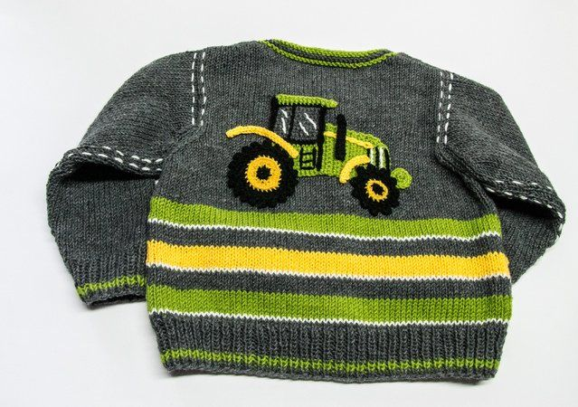 Photo of Kinderjacke stricken // Trecker-Applikation
