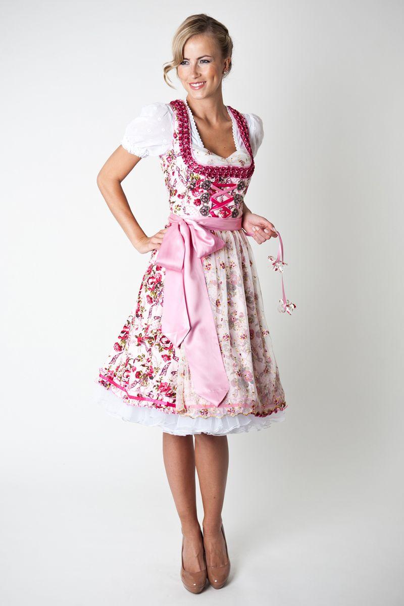 Trachten Dirndl Marissa, midi, creme/pink | Dirndl in 2019 ...