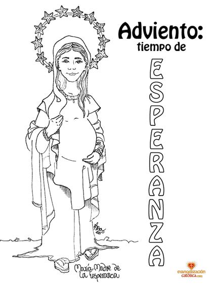 Dibujo para colorear María embarazada #adviento ...
