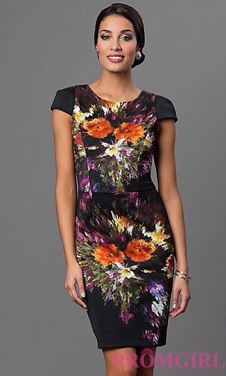 Cap Sleeve Print Dress at PromGirl.com