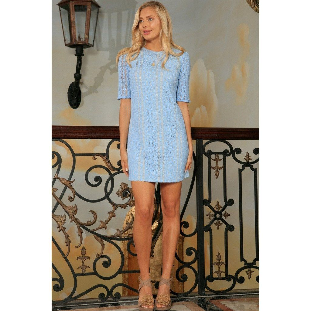 Baby blue crochet lace sleeved cocktail party shift mini dress