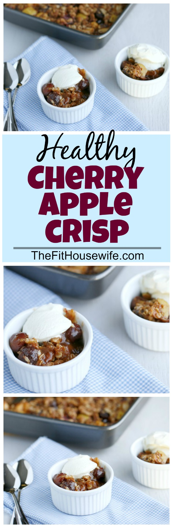 Healthy Cherry Apple Crisp. Filled with delicious fruit