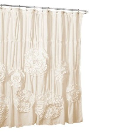 Lush Decor Serena Flower Texture Shower Curtain Ruffle Shower