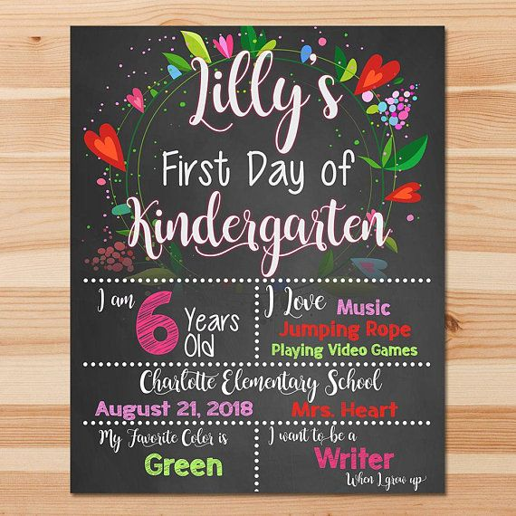 First Day of School Sign - 1st day of School Sign - Kindergarten Prek Preschool sign - 1st day of School Sign Printable Chalkboard Sign Fast #firstdayofschoolsign