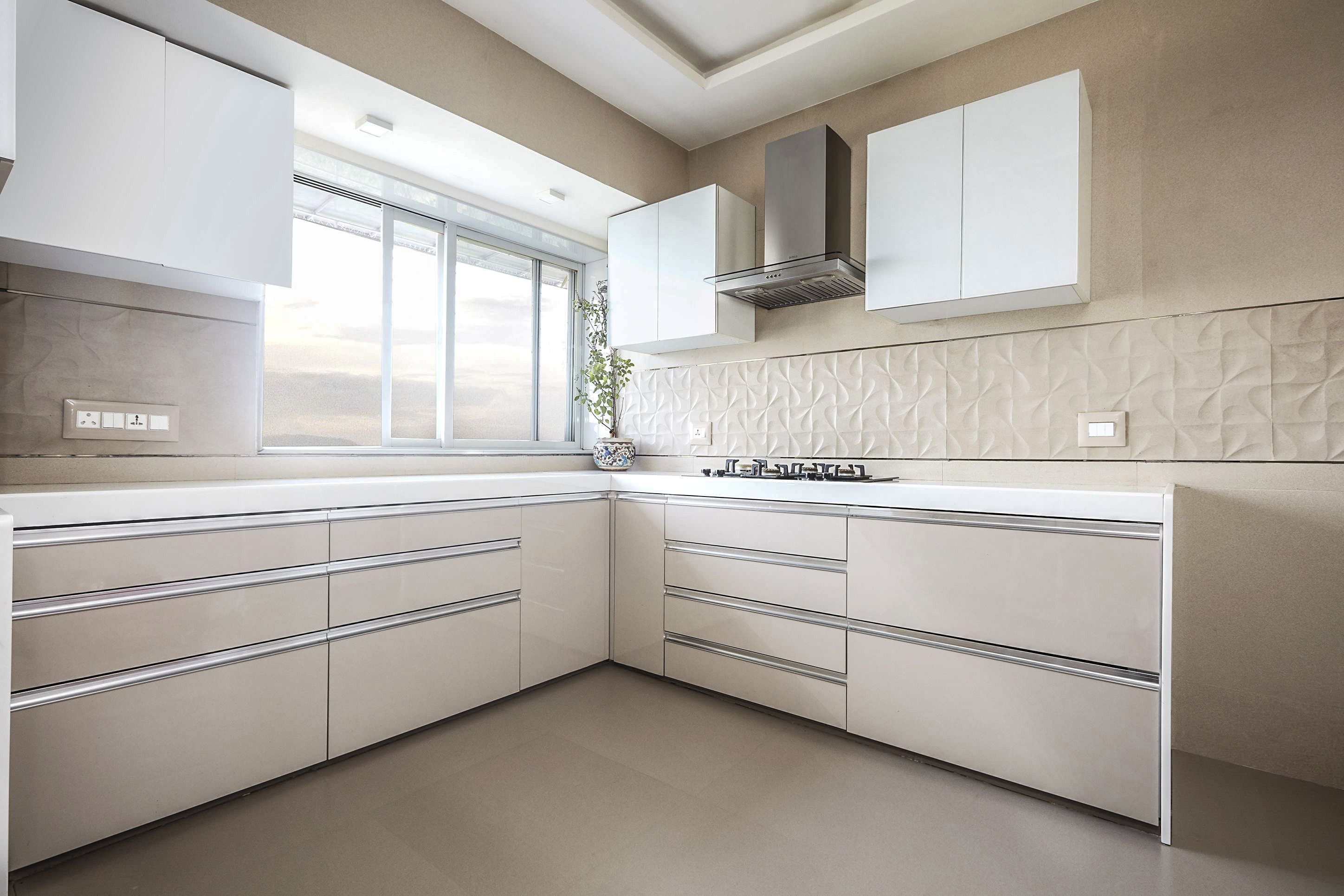 L   Shaped Modular 🍽 Kitchen in White Theme with Upper ...