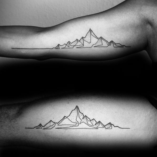 50 Geometric Mountain Tattoo Designs For Men Geometry Ink Ideas In 2020 Geometric Mountain Tattoo Tattoo Designs Men Line Tattoos