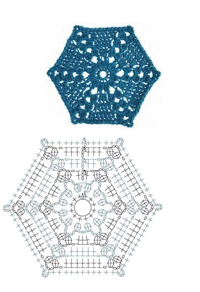 Шестиугольные мотивы крючком со схемами фото 25