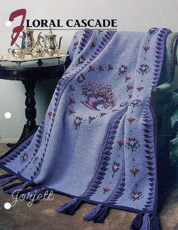 Floral Cascade Quilt Afghan Annies Tunisian Crochet Pattern