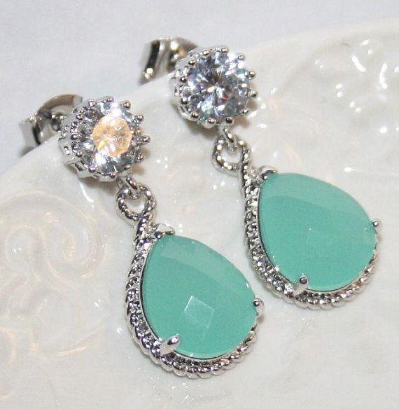 Statement Rhinestone  Ice Mint Pear drop Earrings, Wedding Statement Jewelry, Cubic Zirconia Mint Earrings