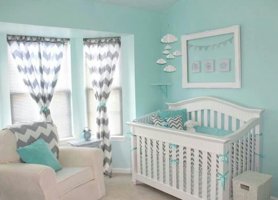 Best Gorgeous Tiffany Blue And Gray Chevron Nursery Baby Room 640 x 480