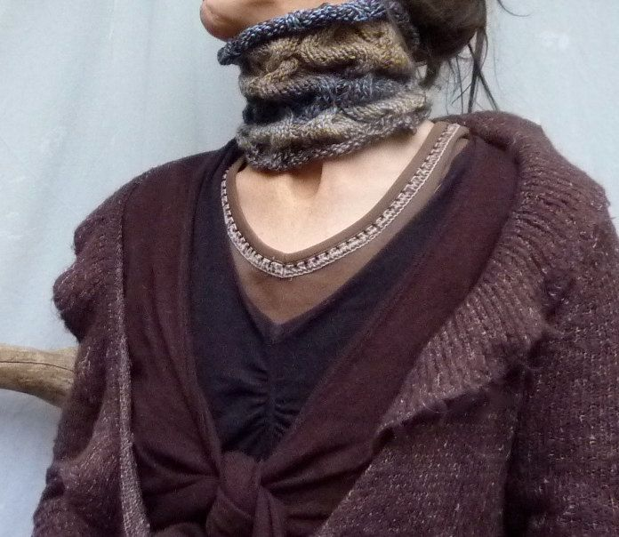 Lightning Strike SALE Storm Neck Cuff, hand knitted cowl in shades of brown and blue wool mix yarn