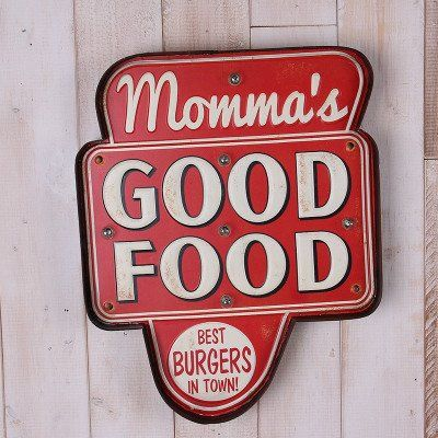 Retro American Diner Wall Sign - Momma's Good Food in 2019