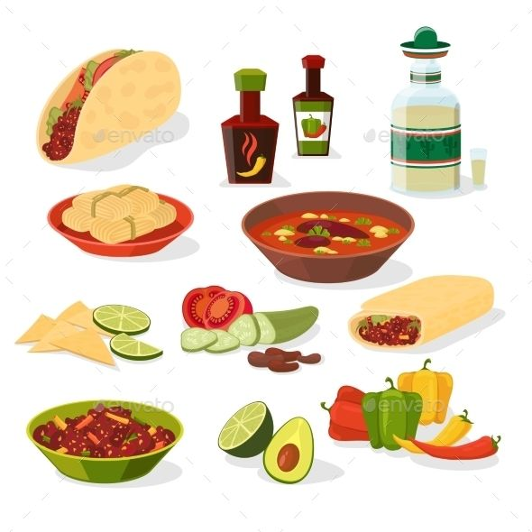 Mexican Food Icons Set Mexican Food Recipes Food Icons Burritos