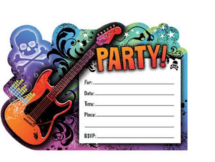 Rock Star Birthday Party Invitation Templates