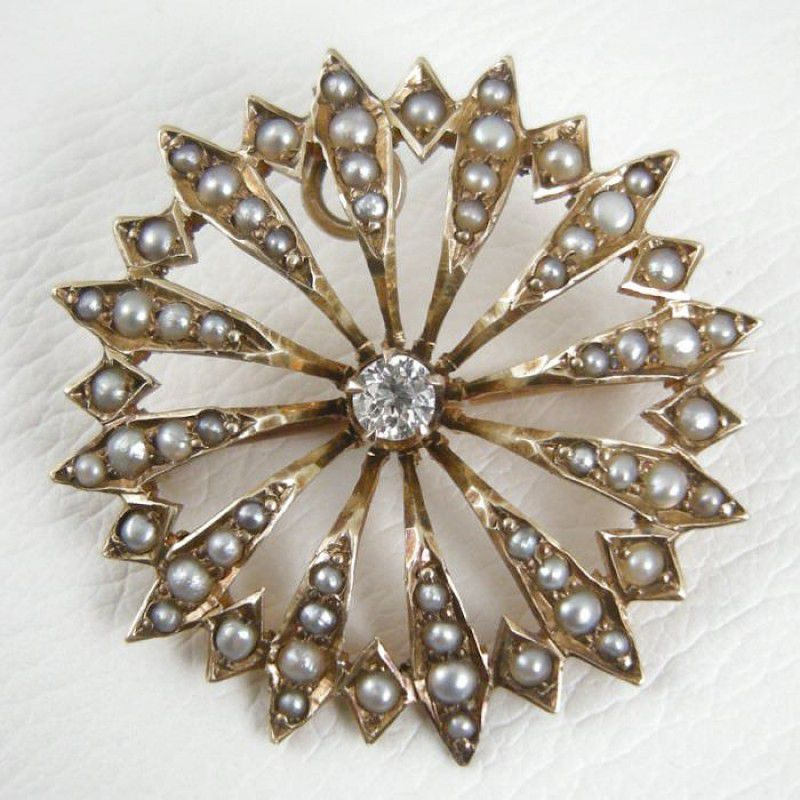 Antique Victorian 14K Yellow Gold Diamond and Seed Pearl BroochPin