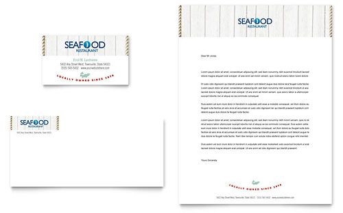 Seafood Restaurant Business Card  Letterhead Template By