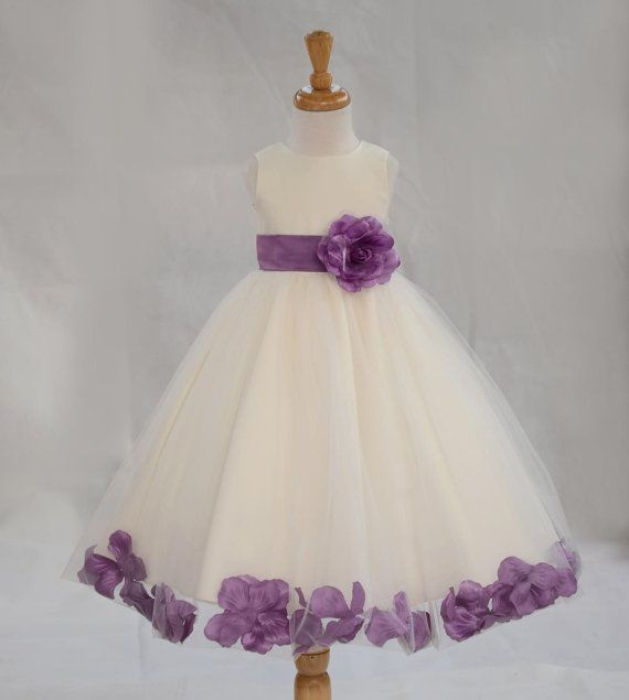 bd89b6aee06 IVORY  Wisteria (picture) Beautiful and Puffy Flower girl dress 20  different sash flower colors bridemaid wedding elegant party 302an