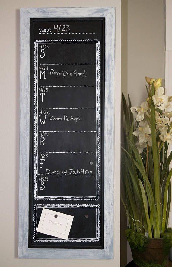 Framed Chalkboard Calendar, Magnetic Chalkboard, Weekly Wall ...