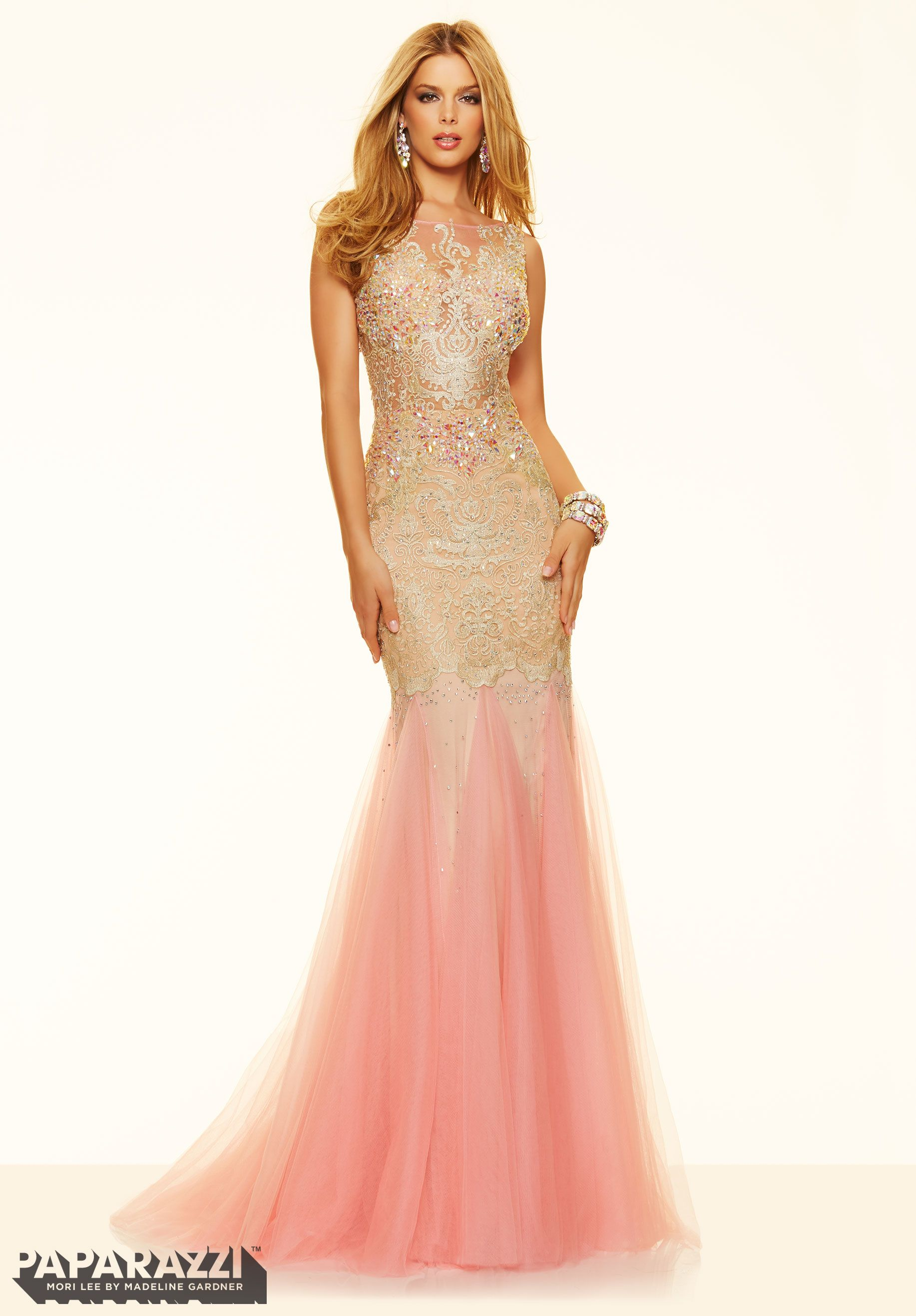 c18971814 Prom dresses by Paparazzi Prom Lace and Beading on Net with 2 Tone Fly Away  Skirt Zipper Back Closure. Colors Available  Rose Gold