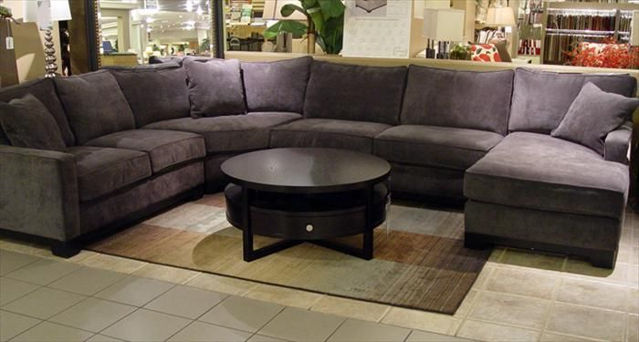 I M Loving This Grey Sectional With Dark Wood Plum