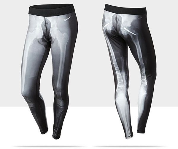 0f61fc9800632 nike xray leggings. front print normal, back print has broken bones with  screws and hip replacements.