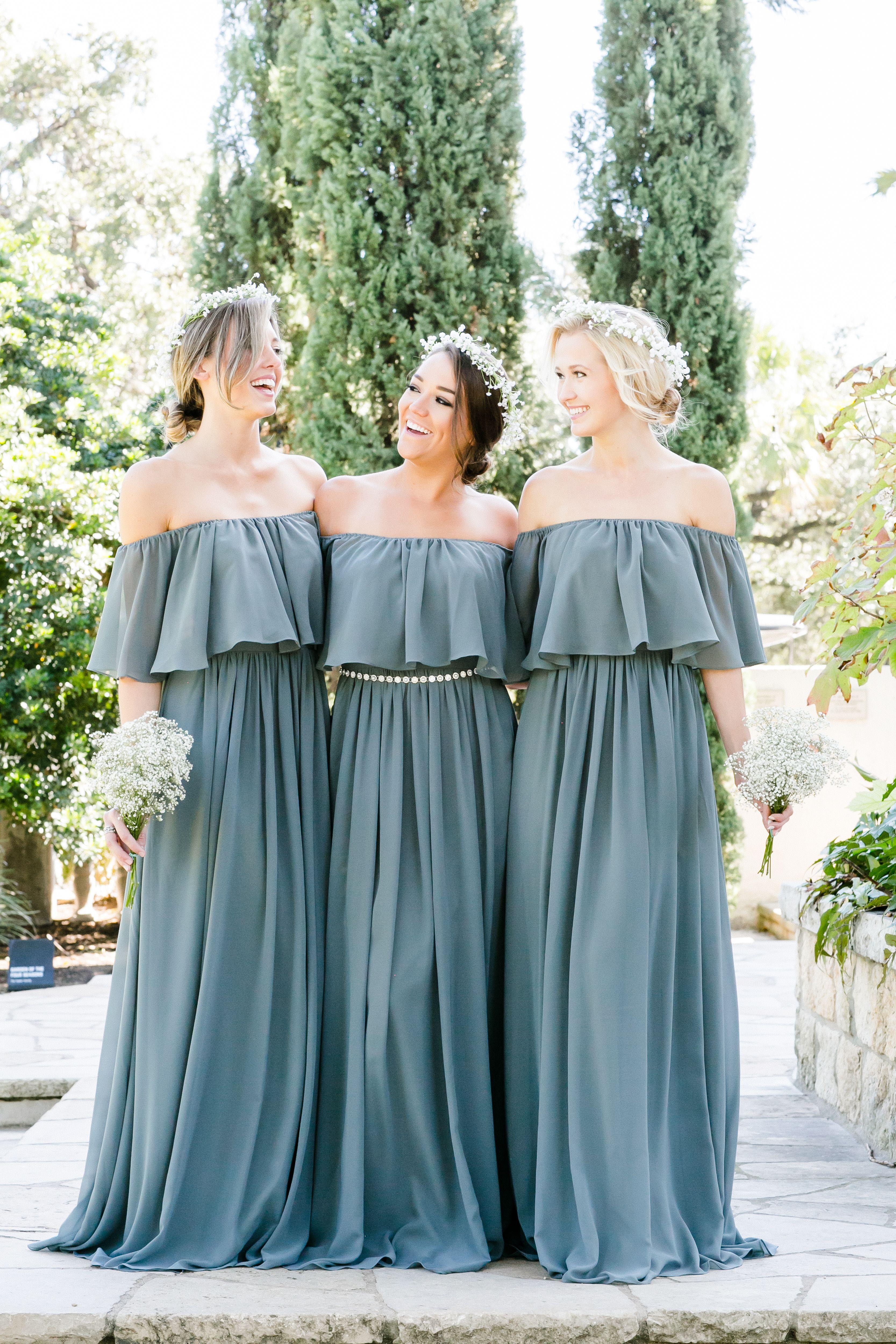 Abigail chiffon dress dusty blue chiffon bridesmaid dresses and