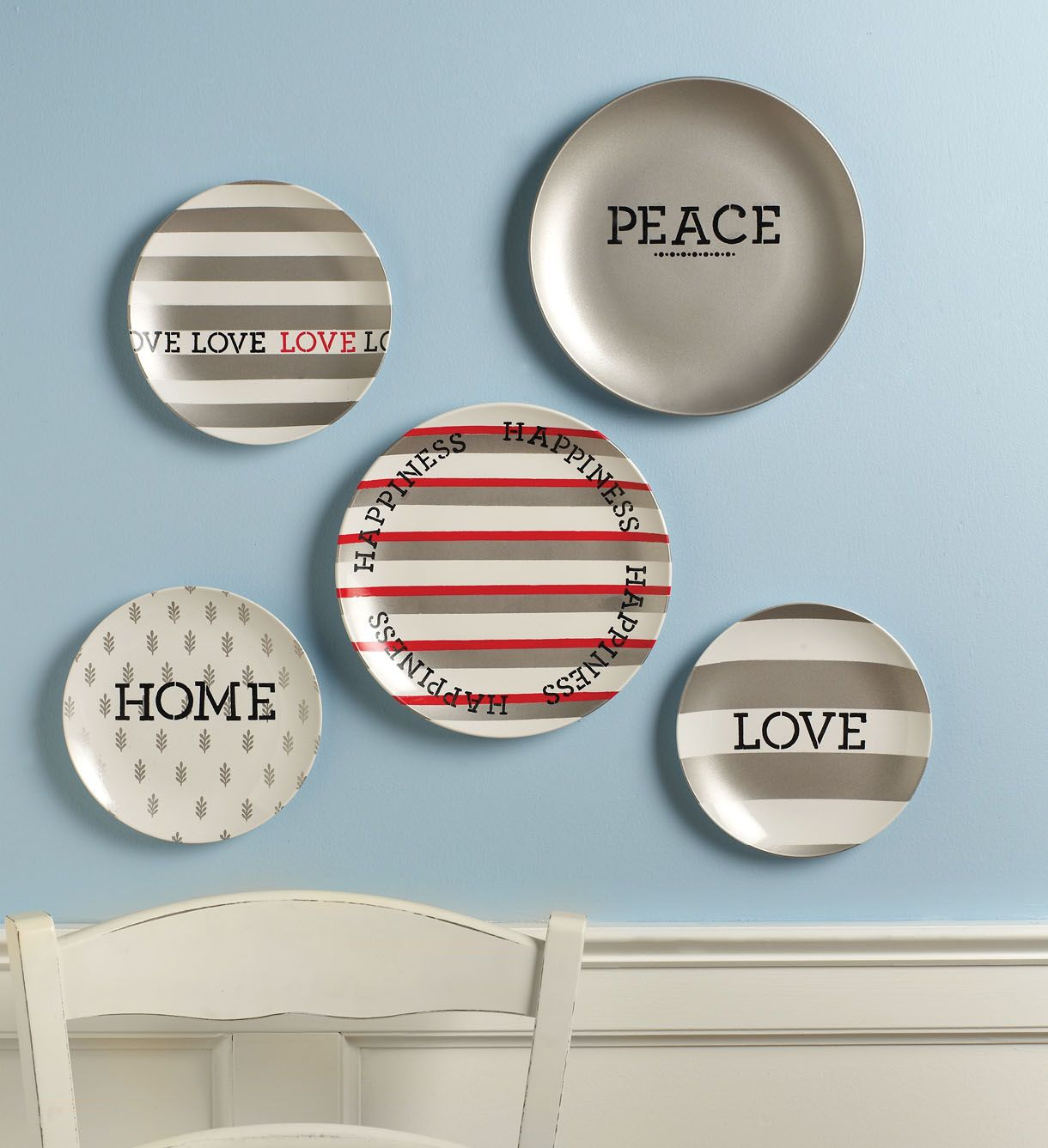 A collection of stenciled plates looks charming on a kitchen or ...