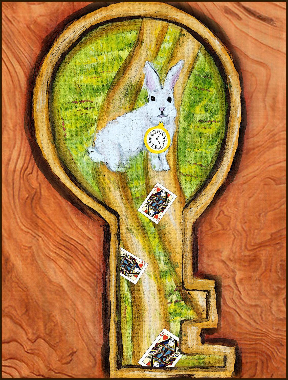 White Rabbit Alice in Wonderland Keyhole