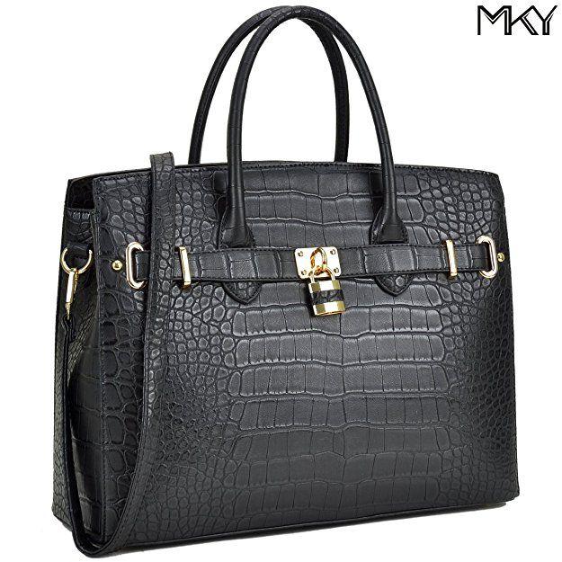 MKY Women Large Handbag Designer Purse Leather Satchel w/ Removable Shoulder Strap (Crocodile leaher-Black)