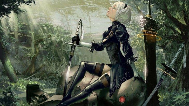2b Katana And Sword Nier Automata Wallpaper