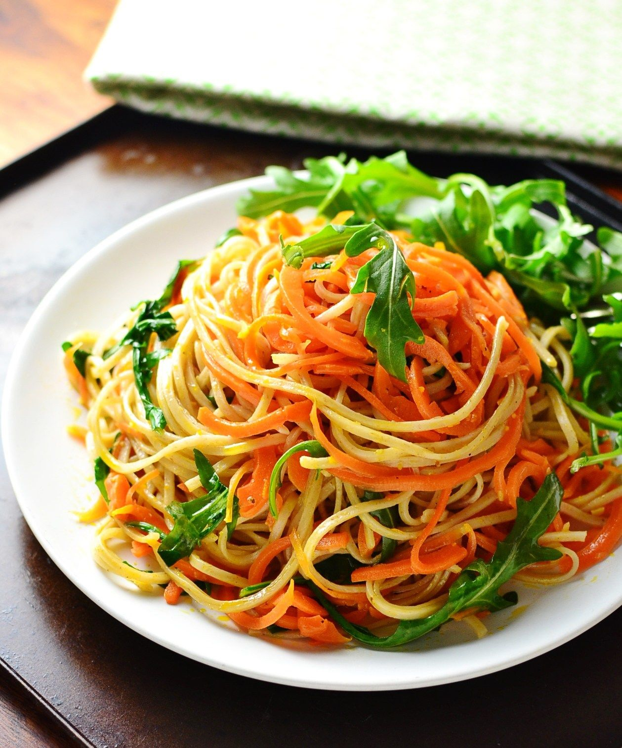 Spiralized Carrot Wholewheat Noodles for Meat Free Monday.