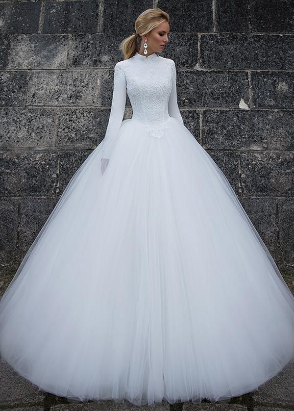 Simple Wedding Dresses, Vintage Satin High Collar Natural Waistline Ball Gown Wedding Dress With Lace Appliques MagBridal