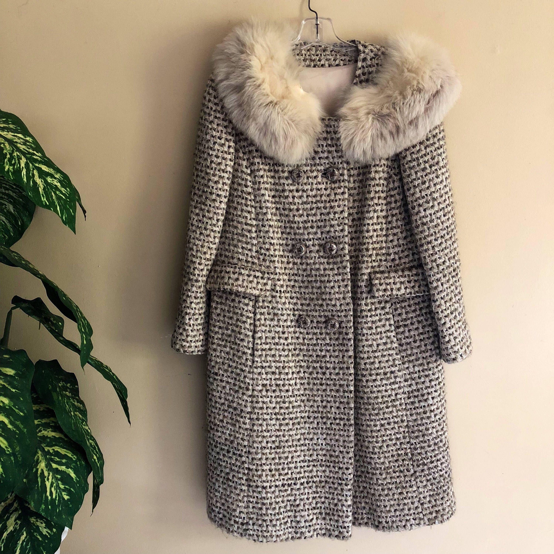 f52d5bf79 Vtg Tween Fur Trim Coat Pea jacket maxi long womens cintage by ...