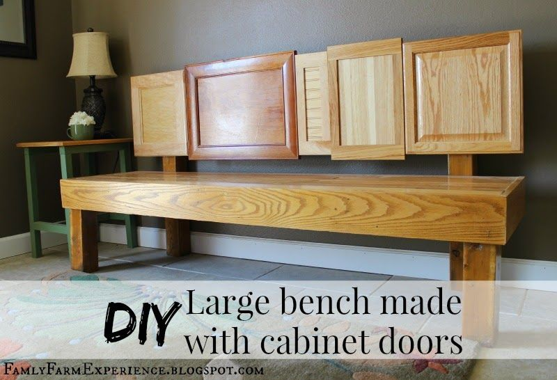 Family Farm Experience: DIY Large bench made with cabinet doors. I love this bench and it was easy to make.