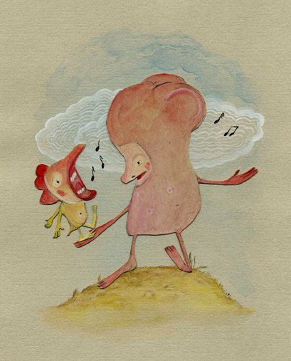 Woes Begone In Song / 11 x 14 Matted Archival Print / Friendship / Music / Whimsical / Reduced by LisaKaser on Etsy
