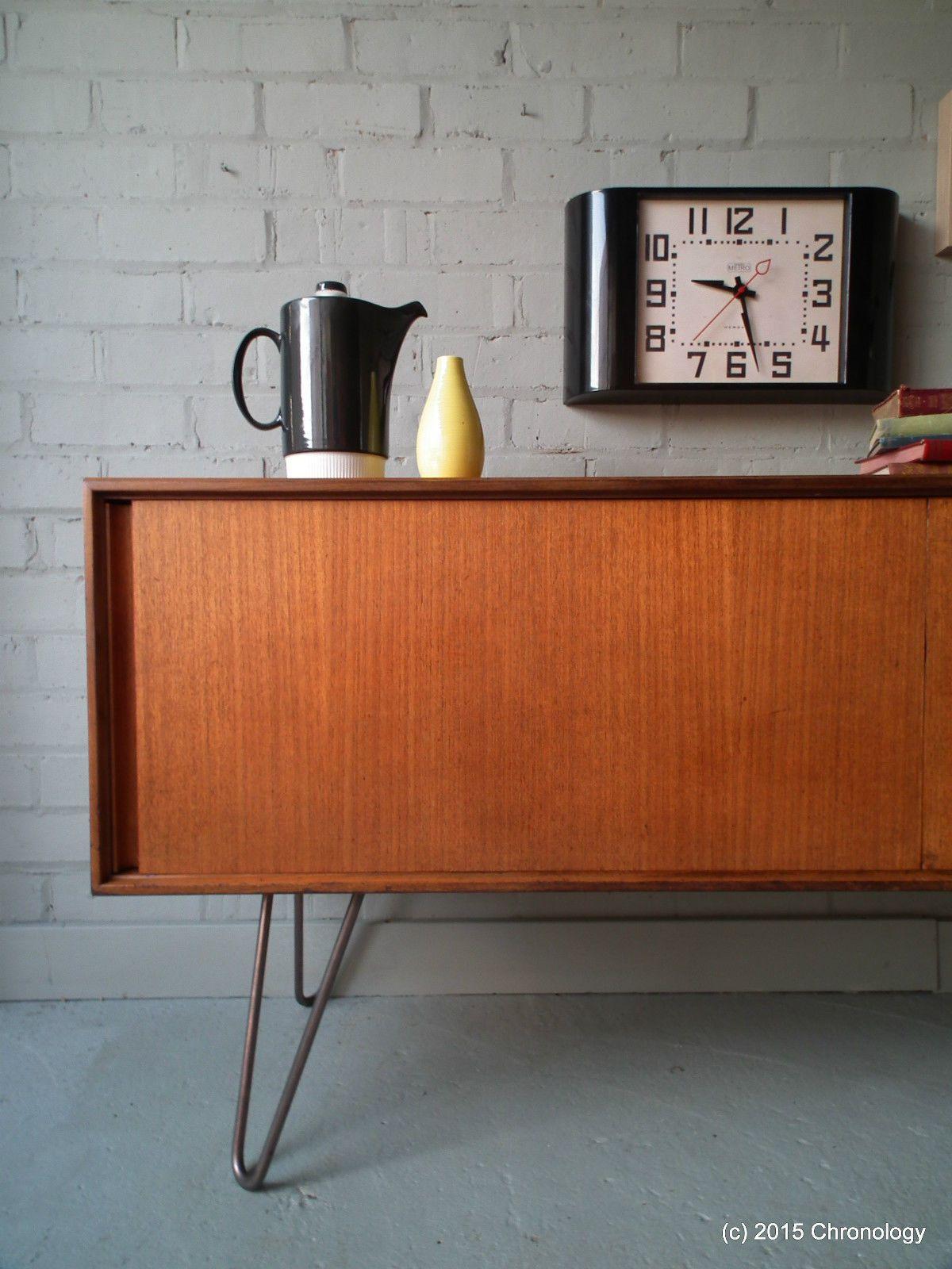 Vintage Retro Teak 60s G Plan Sideboard Industrial Hairpin Legs Danish Nathan Ebay Inredning Mobel