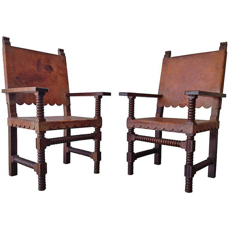 Mexican Spanish Style Venadillo Wood and Leather Chairs c.1940's | From a  unique collection - Spanish Style Venadillo Wood And Leather Chairs, Mexico 1940s
