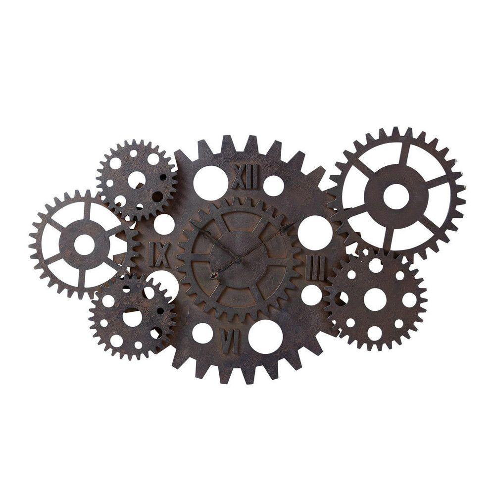 horloge indus à rouages effet rouille d 125 cm
