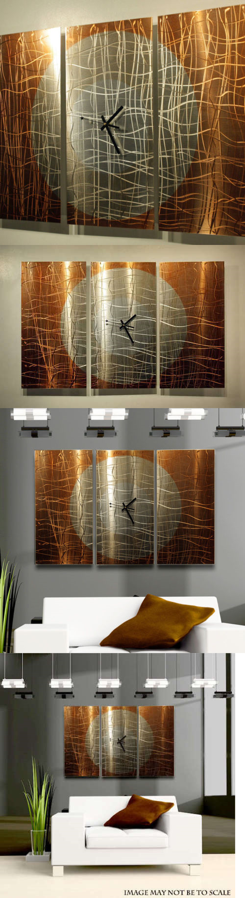 Home Decor Large Copper 3 Panel Wall Clock Modern Contemporary