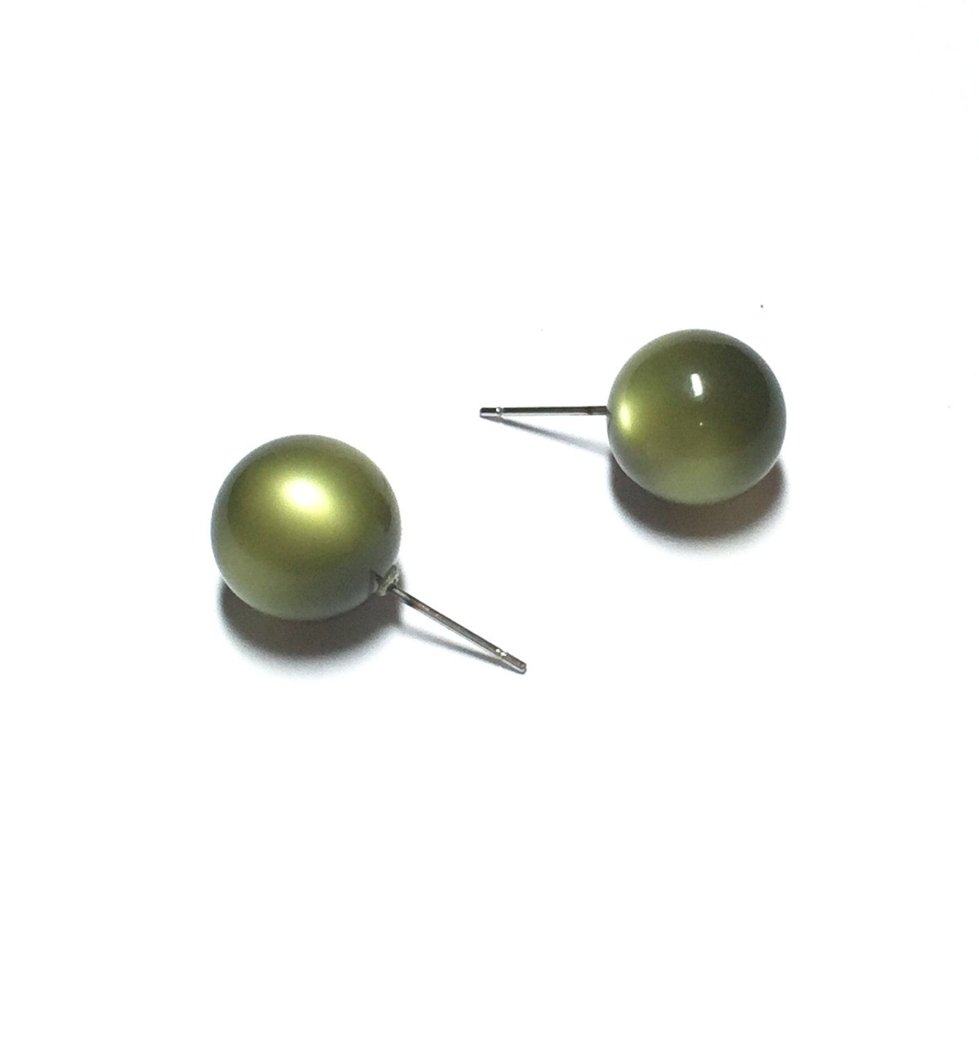 Olive Green Stud Earrings Moss Moonglow Studs Vintage Lucite