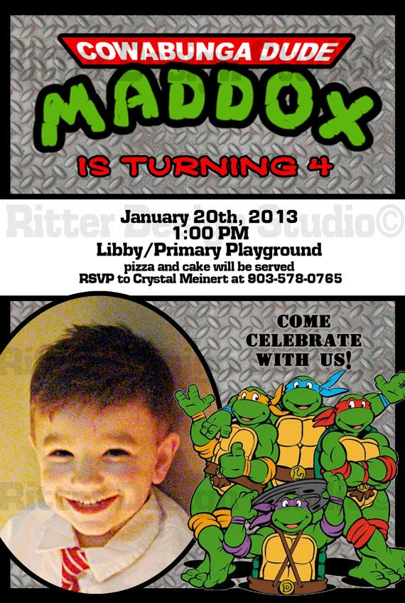 Ninja Turtle Birthday Invitation Printable by RitterDesignStudio
