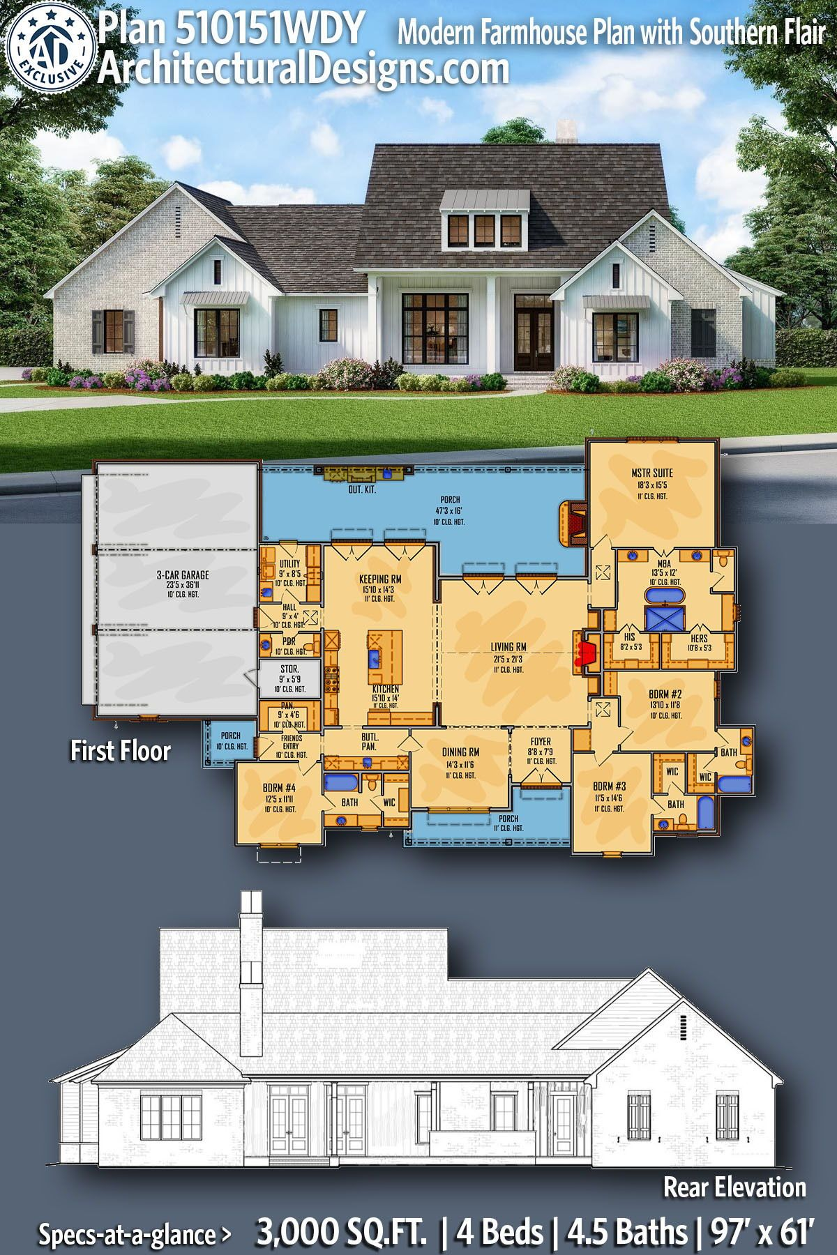 Plan 510151wdy Modern Farmhouse Plan With Southern Flair In 2021 Modern Farmhouse Plans French Country House Plans House Plans Farmhouse