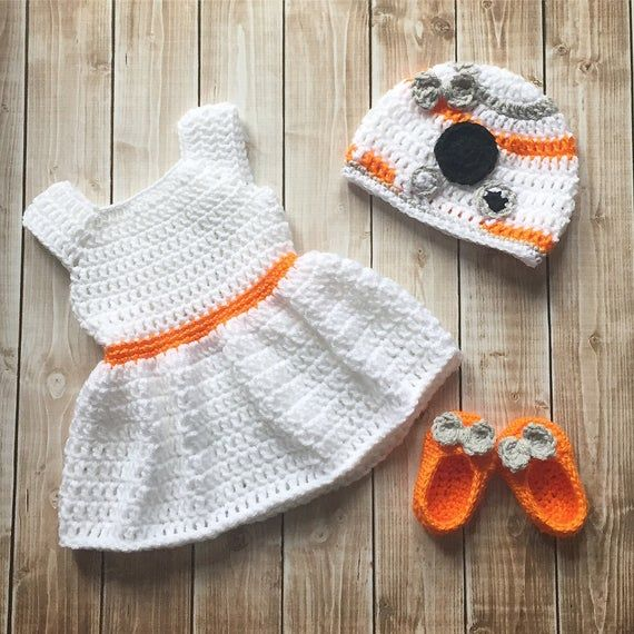 Photo of BB8 Inspired Baby Girl Costume/ Crochet BB8 hat/Star Wars Costume/Star Wars Photo Prop Newborn to 12 Month Size-MADE TO ORDER