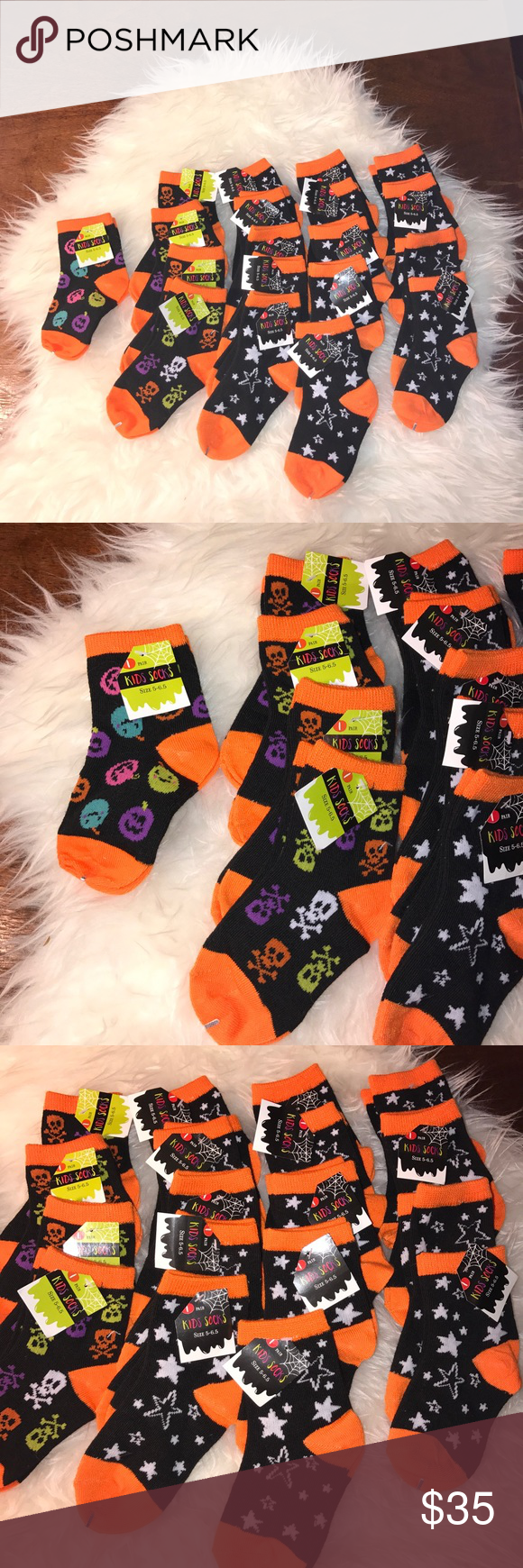 💲1️⃣5️⃣19 Halloween Socks (Size 5-6.5+) Kids This is a bundle of 19 size 5-6.5+ kids socks. 14 are in the orange black and white star print, four are in the multicolored skull with black and orange print and one is in the multicolored pumpkin with black and orange. All of these are brand new with tags attached and they come from a smoke free and pet free home. I bought these for a project but I didn't need as many as I thought I would 💗NO TRADES💗 Accessories Socks & Tights