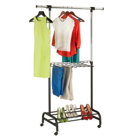 Honey Can Do 3 Shelf Deluxe Garment Rack Chrome Rolling Garment