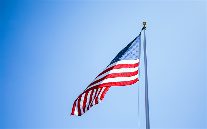 Download Wallpapers 4k Flag Of Usa Flagpole American Flag National Symbols Usa National Flag Blue Sky Flag Of America Usa United States Flag Besthqwall Trip Planning Perfect Road Trip Traveling By