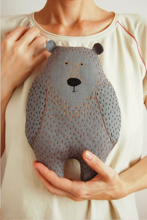 Rufin the Bear, 10 5⁄8 inch baby soft toy, handmade stuffed woodland plush, embroidered nursery pillow, cute kids gift
