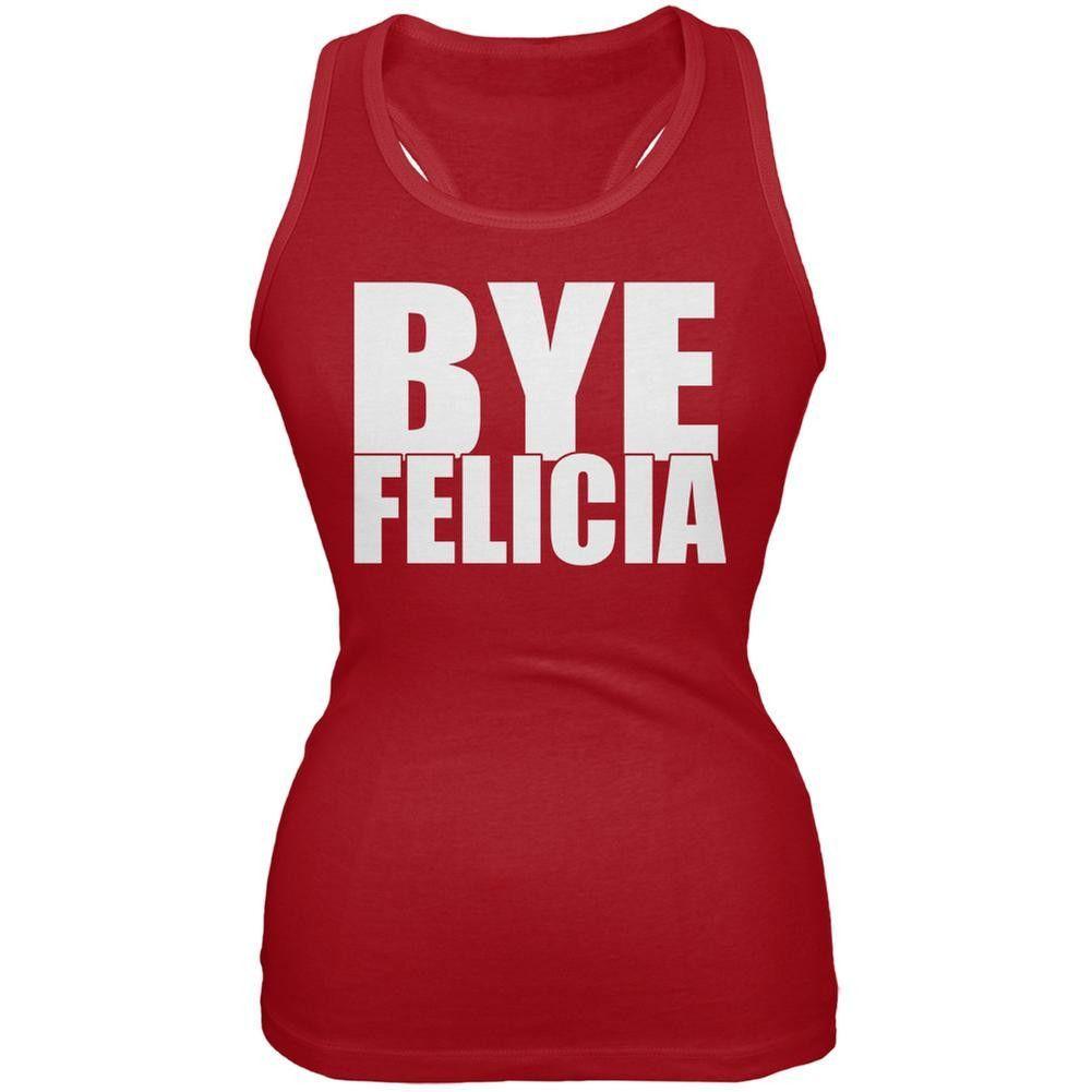 Bye Felicia Black Juniors Soft Tank Top