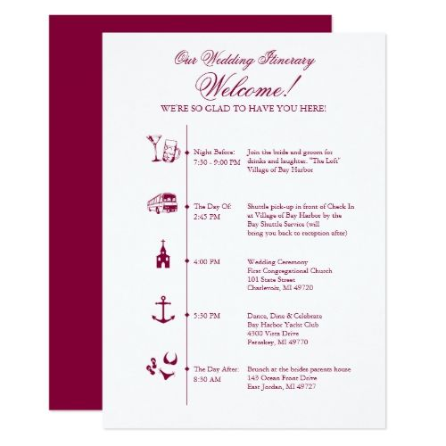Wedding Reception Itinerary Timeline In Wine Card